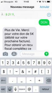 Don par SMS +de Vie 2018