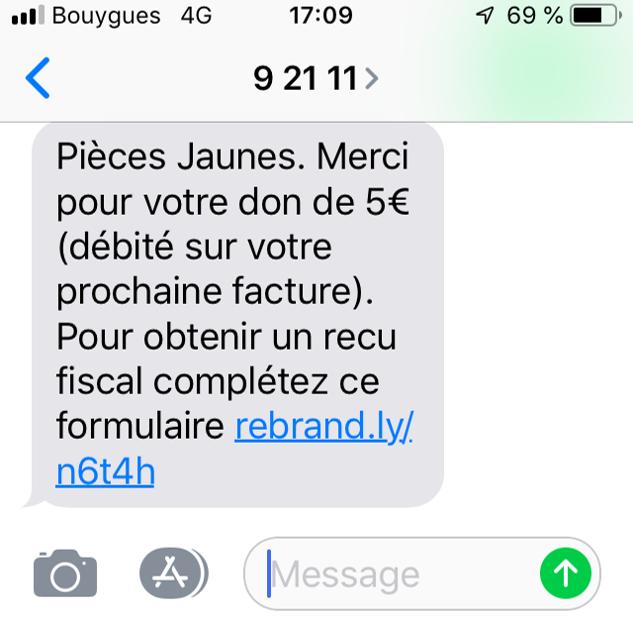 Don par SMS Pièces Jaunes