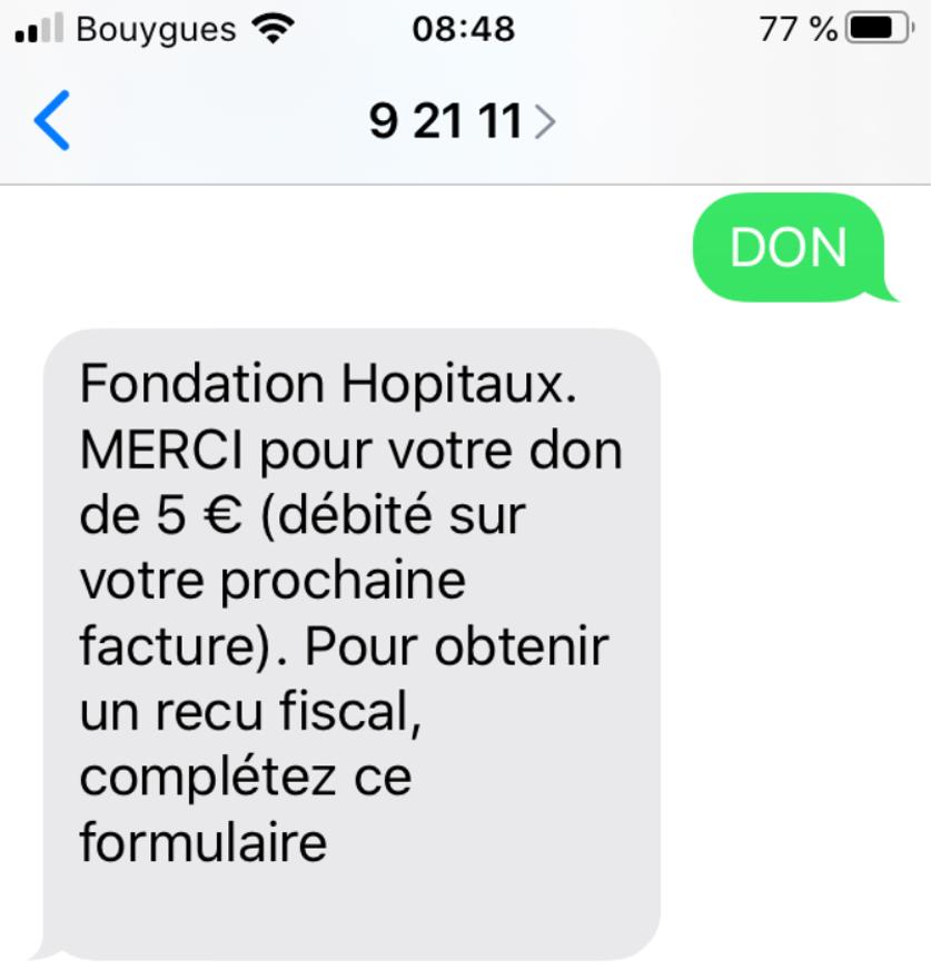 Covid-19 : Faire un don par sms