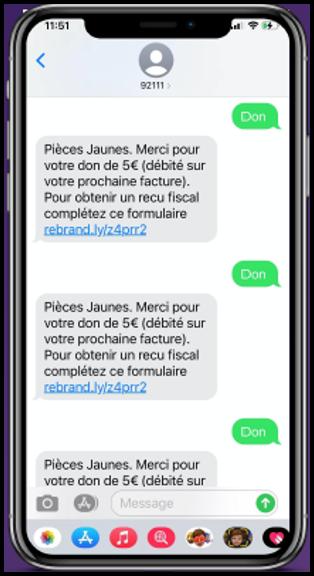 Faites un don par SMS de 5 €