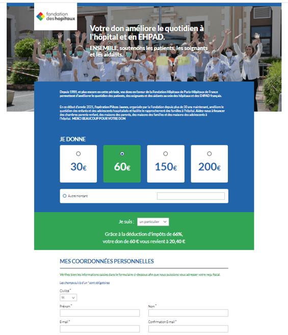 Faire un don en ligne sécurisé pour la Fondation des Hôpitaux