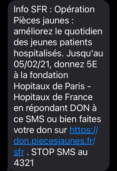 Campagne sms de SFR en faveur des Pièces Jaunes 2021