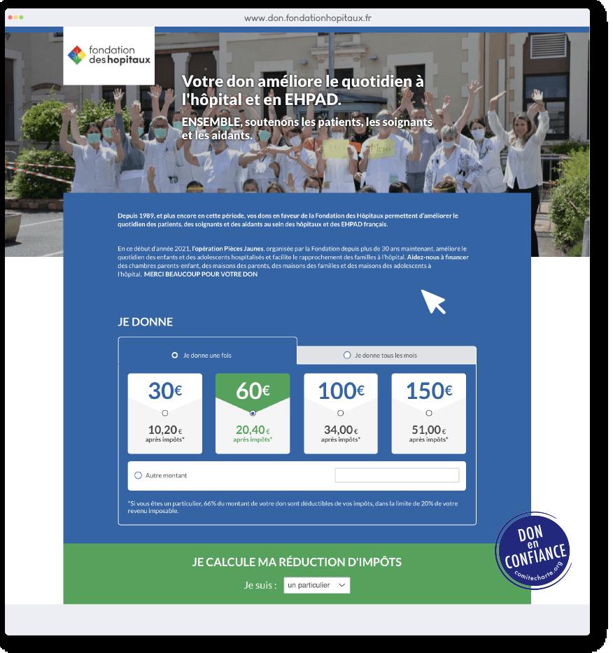 Image Formulaire de dons Fondation des Hôpitaux
